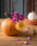 Autumn Table Setting with Pumpkin Centerpiece Royalty Free Stock Photo