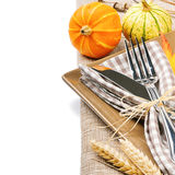 Autumn table setting with pumpkins Stock Images