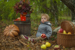 Autumn Tale. Boy in autumn forest eating an apple Stock Photo