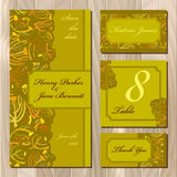 Autumn tansy twigs. Wedding card set. Printable Vector illustration Stock Images