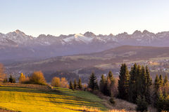 Autumn Tatra mountains sunset Royalty Free Stock Images