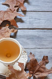 Autumn tea background. Green tea in vintage mugs on wooden table with dry fall leaves. Copy space background Stock Image