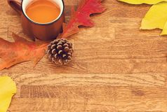 Autumn tea in brown vintage cup on old rustic wooden table with autumn leaves and conch. stock photos