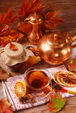 Autumn tea with spices and honey on wooden table Royalty Free Stock Photography