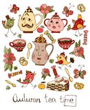 Autumn teatime. Beautiful card with colorful hand drawn elements for tea party Stock Images