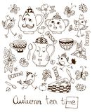 Autumn teatime. Beautiful card with hand drawn elements for tea party Royalty Free Stock Photos