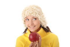 Autumn teen woman with red apple Royalty Free Stock Images