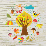 Autumn template background with nature. Objects, tea, rain and birds. graphic illustration Vector Illustration