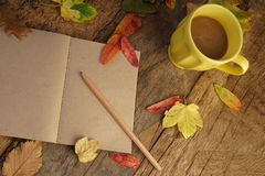 Autumn template with dried leafs and coffee Royalty Free Stock Photography