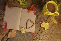 Autumn template with dried leafs and coffee Stock Photo
