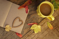 Autumn template with dried leafs and coffee Stock Images