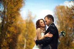 Autumn tenderness - hugging couple in a park Royalty Free Stock Images
