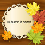 Autumn text frame with leaves Stock Photography