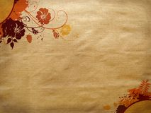 Autumn texture. Paper texture with autumn leaves and flowers Stock Photo