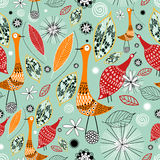 Autumn texture with birds Royalty Free Stock Image