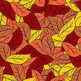 Autumn texture of  leaves of trees. Vector seamless pattern foli Stock Photos