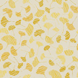 Autumn texture with scraped ginkgo leaves. Seamless pattern. Royalty Free Stock Image