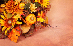 Autumn or Thanksgiving Bouquet over beige Stock Images