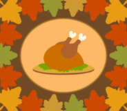 Autumn Thanksgiving Day background with cooked tu. Rkey vector stock illustration