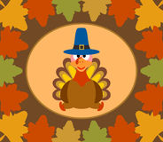 Autumn Thanksgiving  Day background with turkey Royalty Free Stock Photography