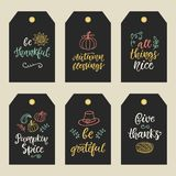 Autumn and Thanksgiving Day gift tags with hand written ink lettering and doodles. Modern calligraphy. Typographic design elements for posters, stickers Stock Photos