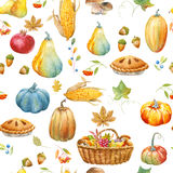Autumn thanksgiving watercolor pattern Stock Photo