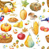Autumn thanksgiving watercolor pattern Royalty Free Stock Photos