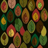 Autumn theme background with leaves of fashionable shades.  Stock Photo