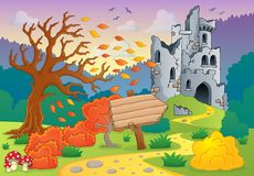 Autumn theme with castle ruins 4 Royalty Free Stock Image