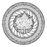 Autumn theme. Circle tribal doodle ornament. Hand drawn maple leaf art mandala. Stock Photos