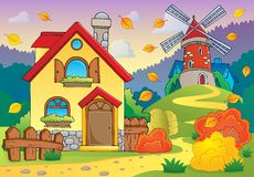 Autumn theme house and windmill Royalty Free Stock Photos