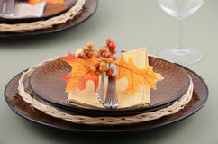 Autumn theme place setting. With brown plates and colorful fabric leaves on pale green background Stock Photos