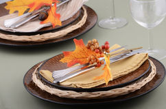 Autumn theme place setting. With brown plates and colorful fabric leaves on pale green background Stock Image