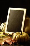 Pumpkins and autumn leaves and chalkboard Stock Images