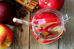 Autumn themed detox water in a mason jar, overhead view Stock Image