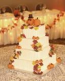 Autumn themed wedding cake Stock Images