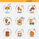 Autumn Thin Line Icons con l'ombrello Fotografie Stock