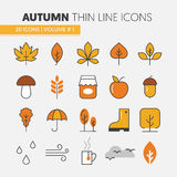 Autumn Thin Line Icons with Umbrella Rainy Weather and Nature Gifts Royalty Free Stock Photography