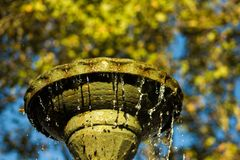 Autumn Tigre fountain against the sky stock images
