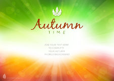 Autumn time background with text - illustration. Royalty Free Stock Photos
