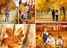 Autumn time collage. Happy autumn time collage  landscape Royalty Free Stock Images