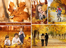 Autumn time collage  landscape Royalty Free Stock Photo
