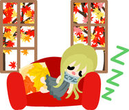 An autumn time. The cute illustration of autumn and girl -Nap on the sofa Stock Photo