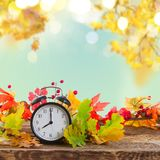 Autumn time - fall leaves with clock Royalty Free Stock Images