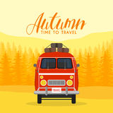 Autumn time family travel and trip. The family car. Vector illustration.  Stock Photography