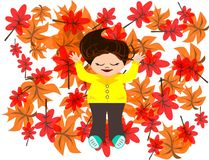 Autumn time. A girl lying on the autumn leaves stock illustration