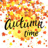 Autumn time lettering banner. Seasonal fall poster with textured hand drawn typography and colorful leaves on abstract Royalty Free Stock Photography