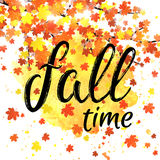 Autumn time lettering banner. Seasonal fall poster with textured hand drawn typography and colorful leaves on abstract Royalty Free Stock Images