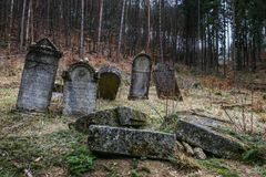 Autumn time in the old Jewish cemetery royalty free stock image
