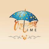 Autumn Time Parapluie avec des points de polka Image libre de droits